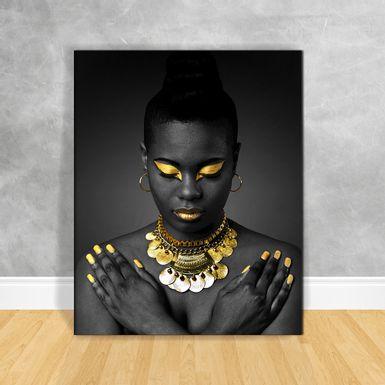 Quadro-Impressao-em-Vidro---Black-Woman-Colar-Dourado