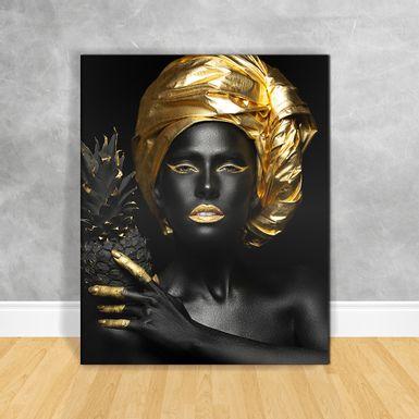 Quadro-Impressao-em-Vidro---Black-Woman-Abacaxi
