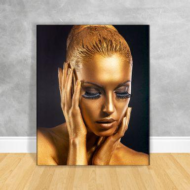 Quadro-Impressao-em-Vidro---Black-Woman-Gold-Rosto-e-Maos