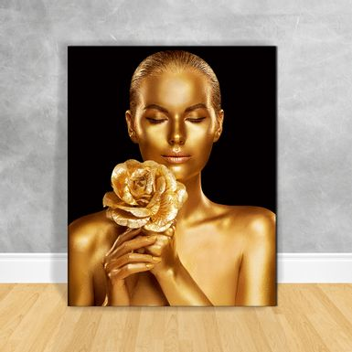 Quadro-Impressao-em-Vidro---Black-Woman-Buque-Gold