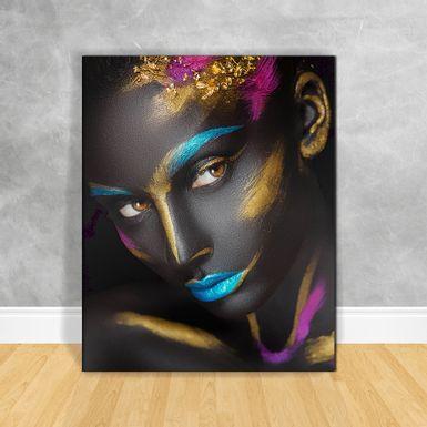 Quadro-Impressao-em-Vidro---Black-Woman-Rosto-Colorido