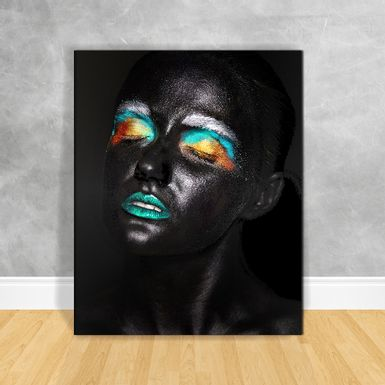 Quadro-Impressao-em-Vidro---Black-Woman-Olhos-Coloridos