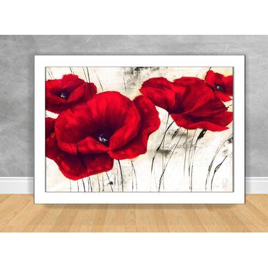 Quadro-Decorativo-Flores-Vermelha-e-Branca