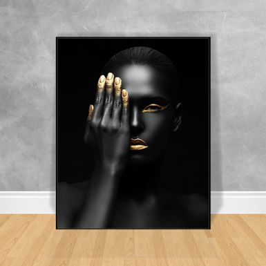 Quadro-Decorativo-Black-Woman-Mao-no-Olho