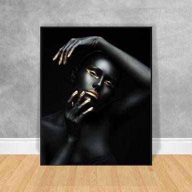 Quadro-Decorativo-Black-Woman-Mao-na-Cabeca