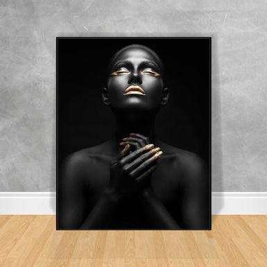Quadro-Decorativo-Black-Woman-Olhos-Fechados