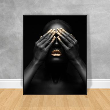 Quadro-Decorativo-Black-Woman-Mao-na-Testa