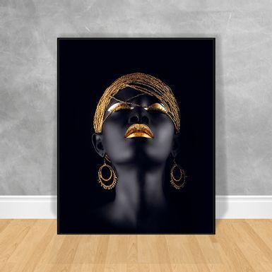 Quadro-Decorativo-Black-Woman-Brincos-Dourados