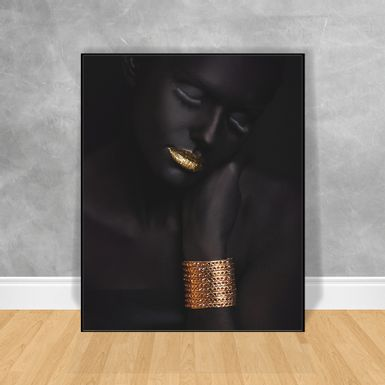 Quadro-Decorativo-Black-Woman-Bracelete-Dourado