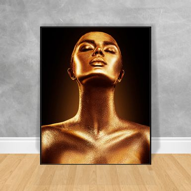 Quadro-Decorativo-Black-Woman-Corpo-Dourado