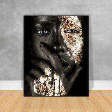 Quadro-Decorativo-Black-Woman-Rosto-Prata-e-Preto
