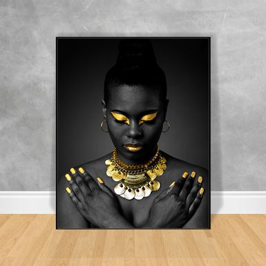 Quadro-Decorativo-Black-Woman-Maos-Cruzadas