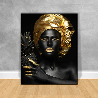 Quadro-Decorativo-Black-Woman-Abacaxi
