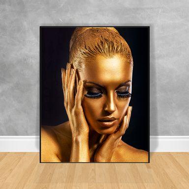Quadro-Decorativo-Black-Woman-Gold-Maos-no-Rosto