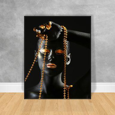 Quadro-Decorativo-Black-Woman-Cordao-Dourado
