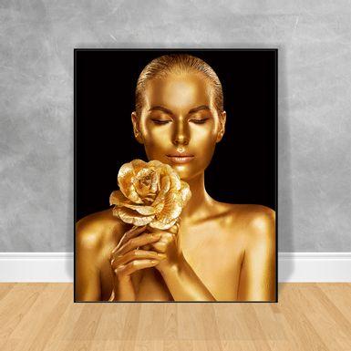 Quadro-Decorativo-Black-Woman-Buque-Gold