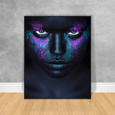 Quadro-Decorativo-Black-Woman-Rosto-Brilhante