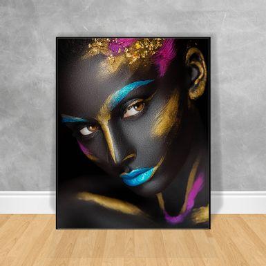 Quadro-Decorativo-Black-Woman-Rosto-Colorido