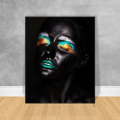 Quadro-Decorativo-Black-Woman-Olhos-Coloridos