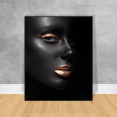 Quadro-Decorativo-Black-Woman-Batom-e-Cilio