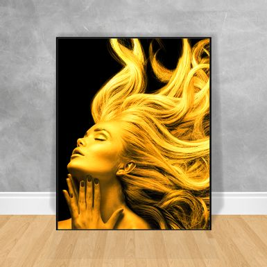 Quadro-Decorativo-Black-Woman-Gold-Hair