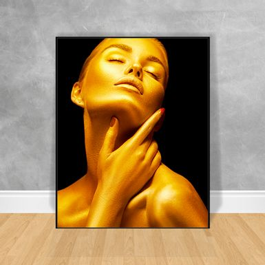Quadro-Decorativo-Black-Woman-Gold-Reflection