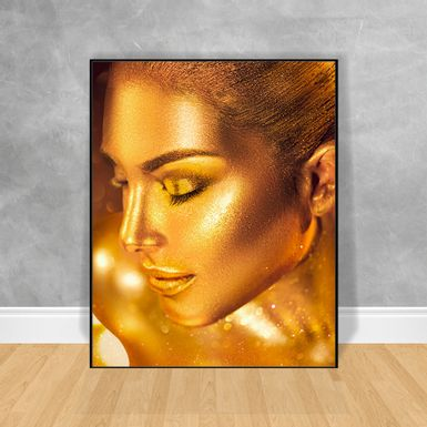 Quadro-Decorativo-Black-Woman-Gold-Body