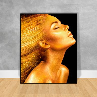 Quadro-Decorativo-Black-Woman-Hair-Gold