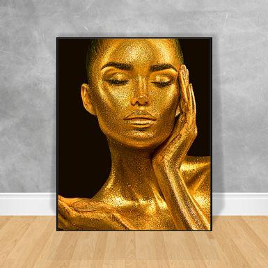 Quadro-Decorativo-Black-Woman-Brilho-Dourado-No-Corpo