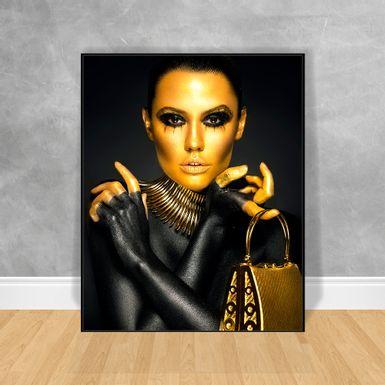 Quadro-Decorativo-Black-Woman-Bolsa-Dourada