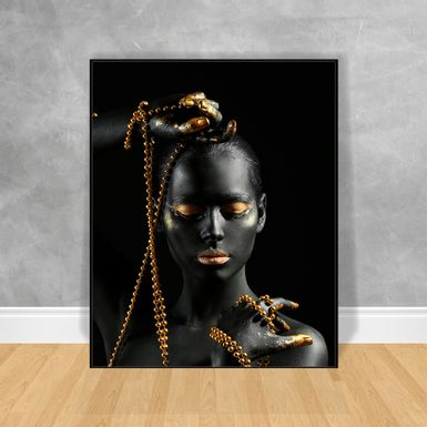 Quadro-Decorativo-Black-Woman-Pulseira-e-Cordao
