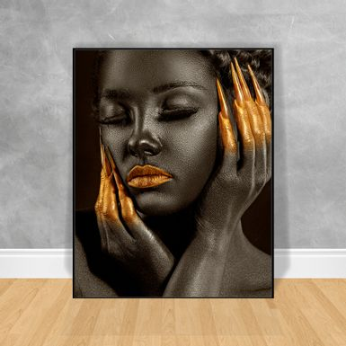 Quadro-Decorativo-Black-Woman-Unhas-Gold