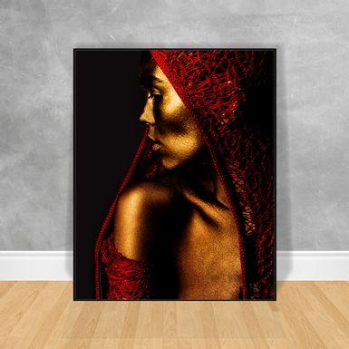 Quadro-Decorativo-Black-Woman-Capuz-Vermelho