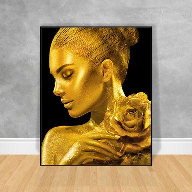 Quadro-Decorativo-Black-Woman-Maquiagem-Dourada