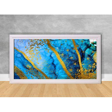 Quadro-Decorativo-Abstrato-Fundo-Azul-e-Purpurina-Amarela