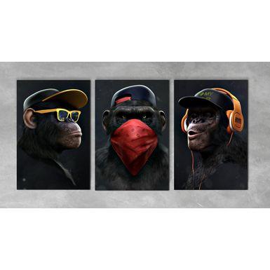 Quadro-Impressao-em-Vidro---Trio-Macaco