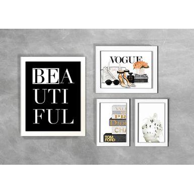 Kit-de-4-Quadros-Moda-Beautiful-Vogue-Branca