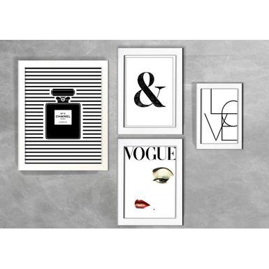 Kit-de-4-Quadros-Moda-Love-Vogue-Branca