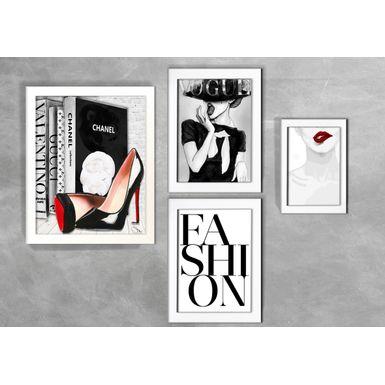 Kit-de-4-Quadros-Moda-Vogue-Fashion-Branca