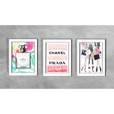 Kit-de-3-Quadros-Moda-Mundo-Chanel-Branca