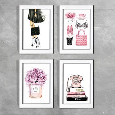 Kit-de-4-Quadros-Moda-Universo-Chanel-Branca