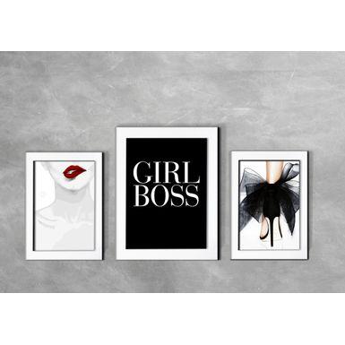 Kit-de-3-Quadros-Moda-Girl-Boss-Branca
