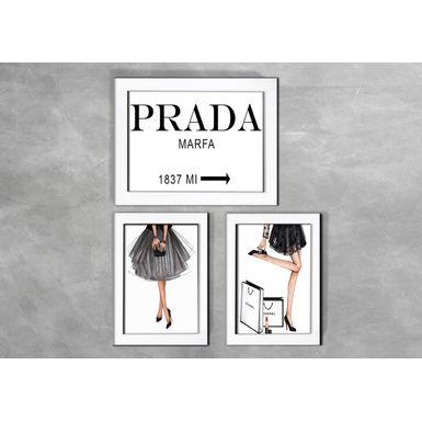 Kit-de-3-Quadros-Moda-Girls-Prada-Branca