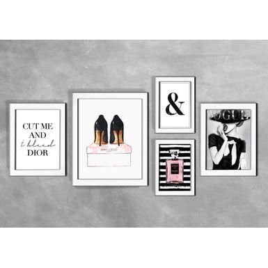 Kit-de-5-Quadros-Moda-Cut-Me-And-I-Bleed-Dior-Branca
