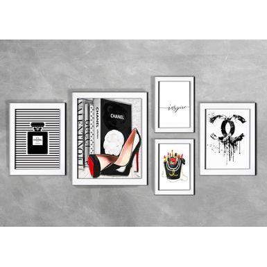 Kit-de-5-Quadros-Moda-Black-Chanel-Branca