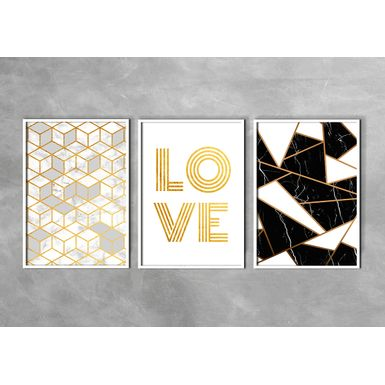 Kit-3-Quadros-Prime-Fine-Art-Love-Gold-Branca