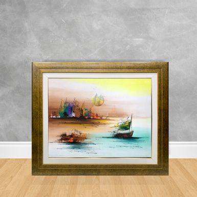 Tela-a-Oleo-Abstrato-Sol-e-Barco-90x70-Madeira-Tom-Escuro--D3-