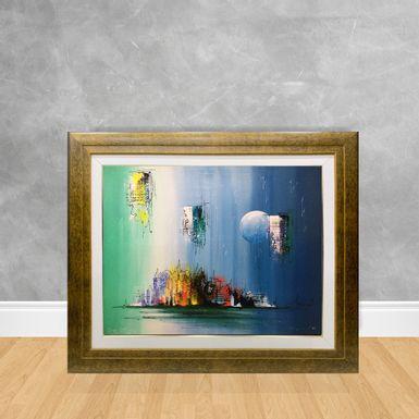 Tela-a-Oleo-Abstrato-Tons-de-Azul-e-Verde-90x70-Madeira-Tom-Escuro--D3-