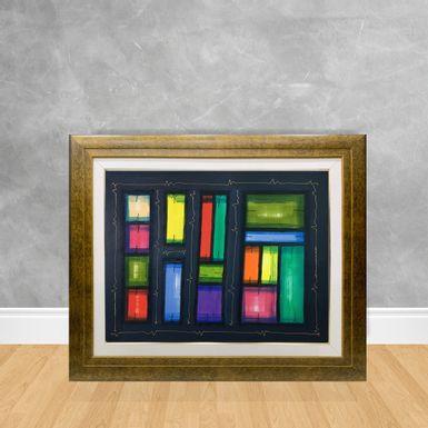 Tela-a-Oleo-Abstrato-Blocos-Coloridos-90x70-Madeira-Tom-Escuro--D3-