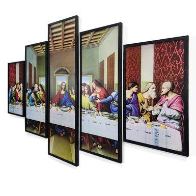 Quadro-Mosaico-5-Partes-Santa-Ceia-150x95-Preta